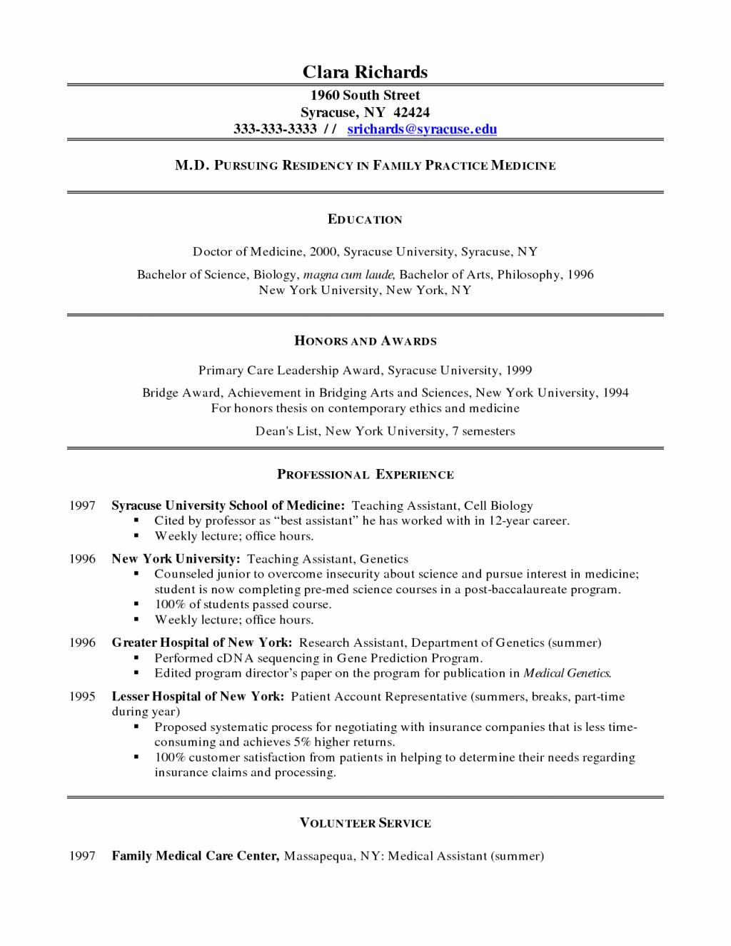 Medical Cv Template Word Unique Resume Medical Doctor