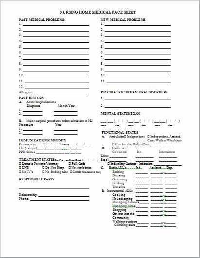 Medical Face Sheet Elegant Medical Face Sheet at Word Documents