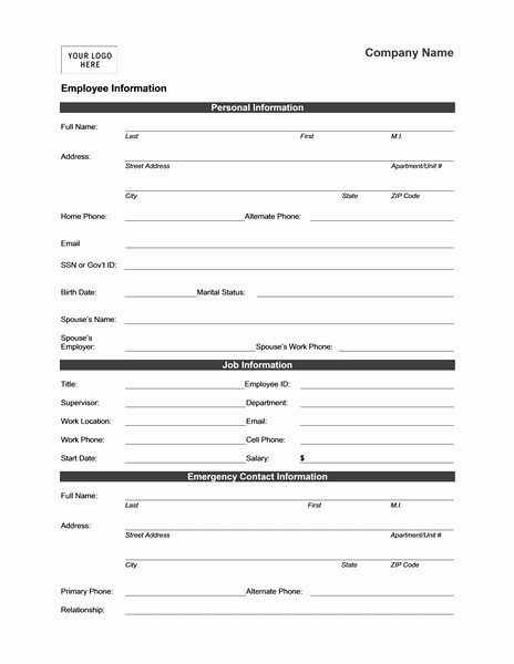 Medical Face Sheet Lovely Employee Information form Templates Mbo