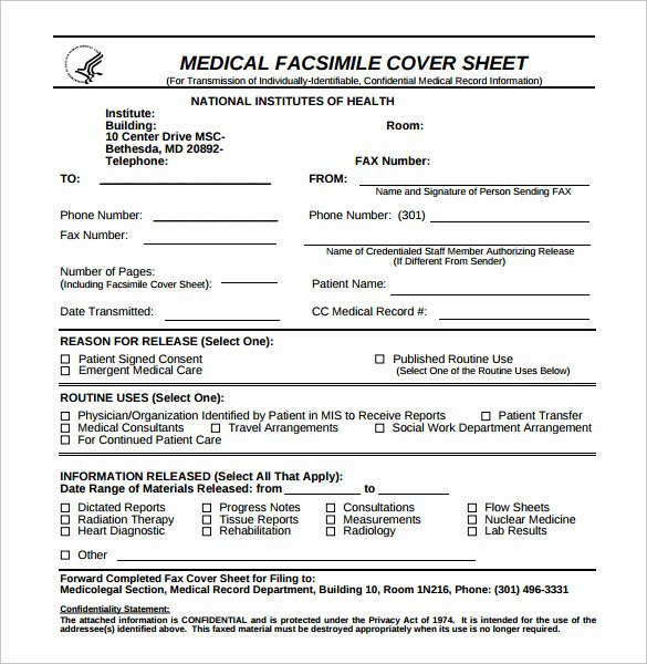 Medical Face Sheet Template Unique Sample Confidential Fax Cover Sheet 12 Documents In Pdf