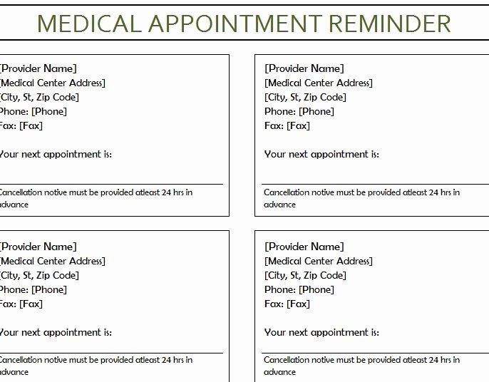 Medical Office Appointment Scheduling Template Elegant Medical Appointment Reminder My Excel Templates