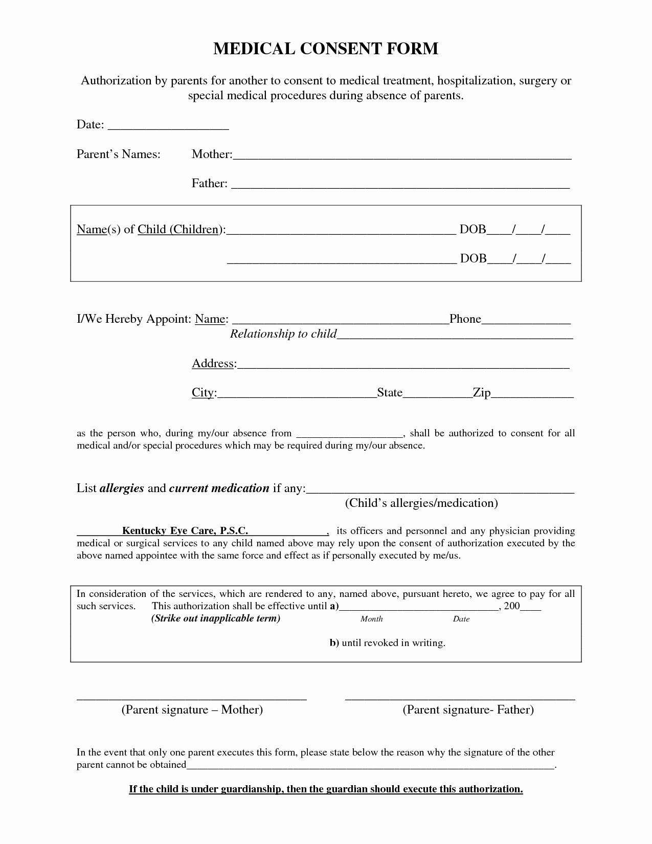 Medical Procedure Consent form Template Awesome Medical Procedure Consent form Template
