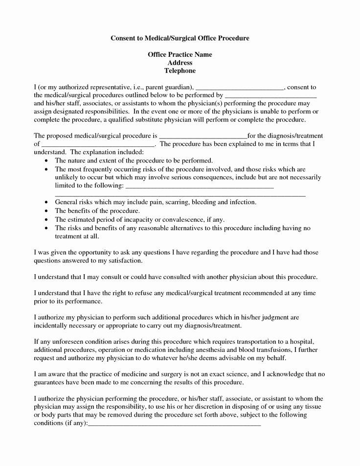 Medical Procedure Consent form Template Beautiful Medical Procedure Consent form Template