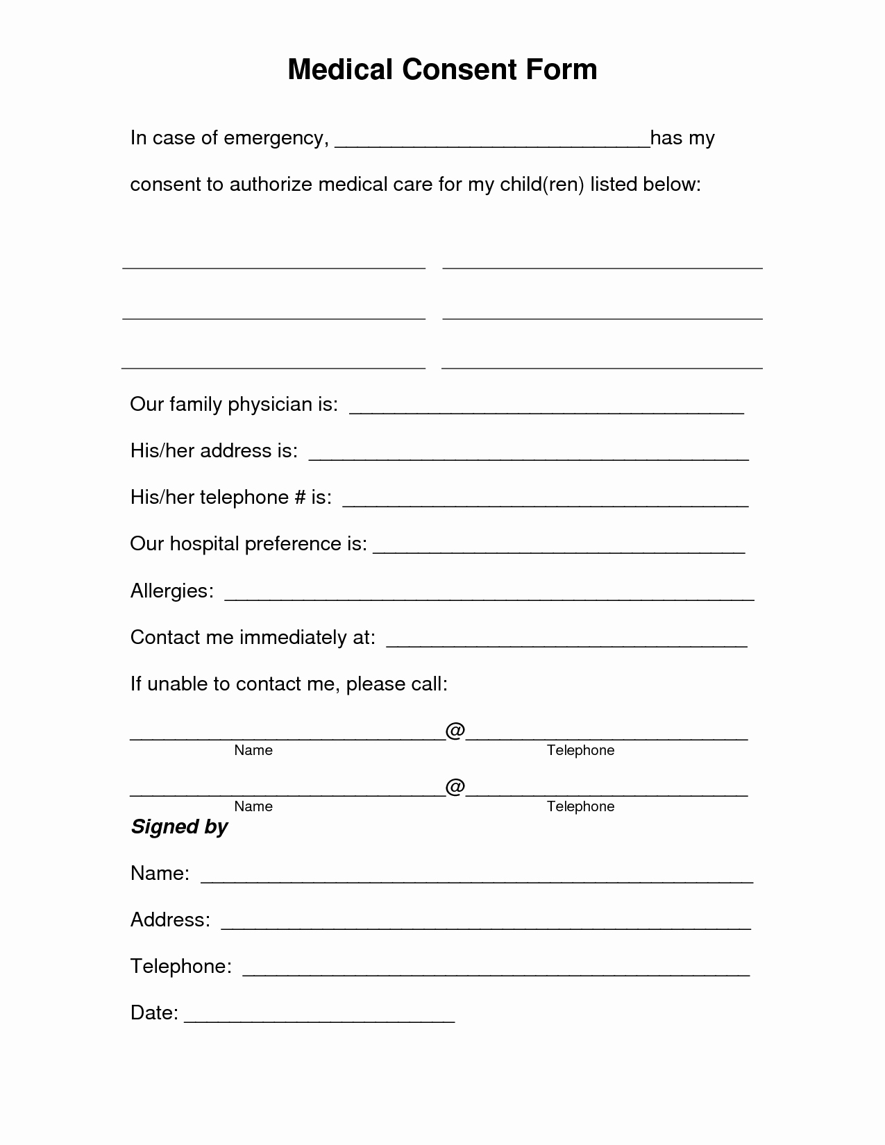 Medical Procedure Consent form Template Best Of Free Printable Medical Consent form