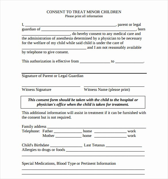 Medical Procedure Consent form Template Fresh Sample Child Medical Consent form 5 Download Free