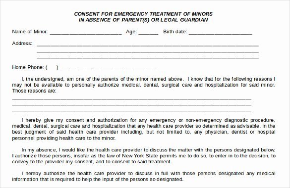 Medical Procedure Consent form Template New Sample Child Medical Consent form 5 Download Free