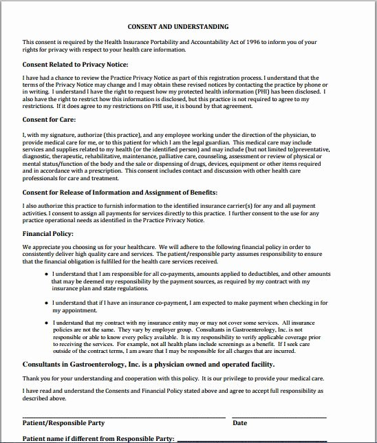 Medical Procedure Consent form Template New Sample Medical Consent form