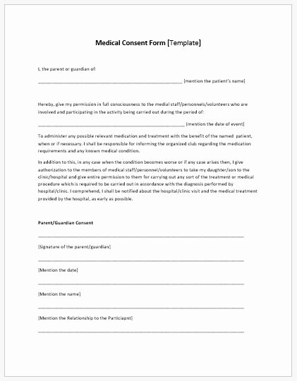 Medical Procedure Consent form Template Unique Medical Consent form Template Ms Word