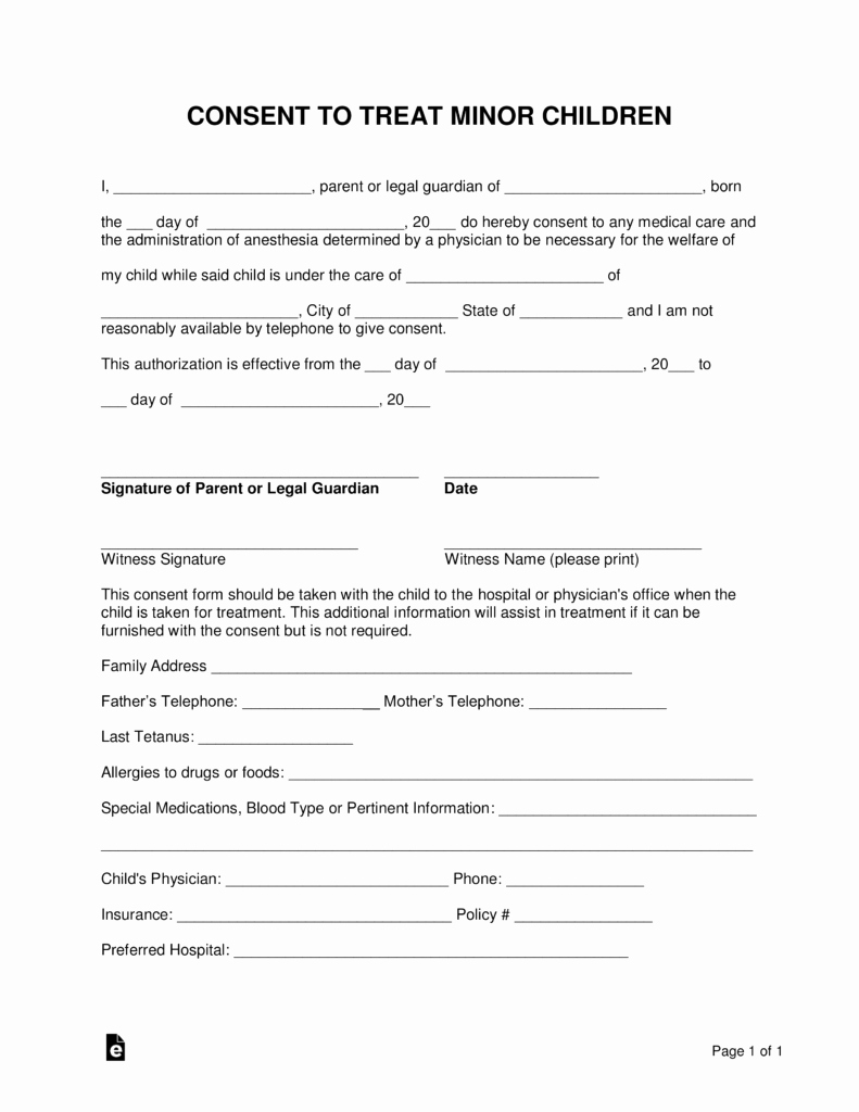 Medical Release form for Babysitter Awesome Free Minor Child Medical Consent form Word