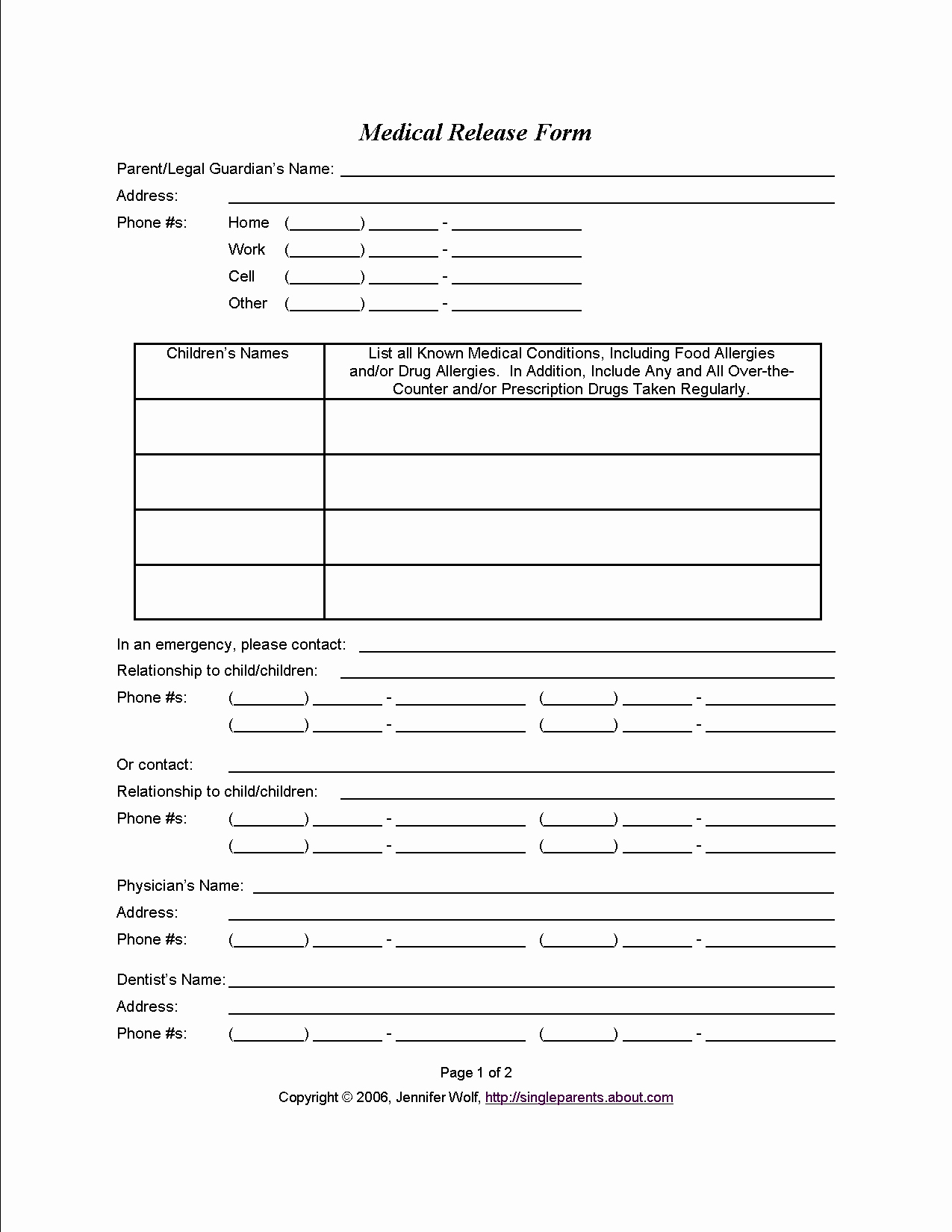 Medical Release form for Babysitter Awesome Medical Consent form when You Might Need E
