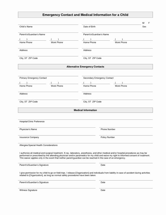 Medical Release form for Babysitter Elegant Printable Emergency Contact form Template