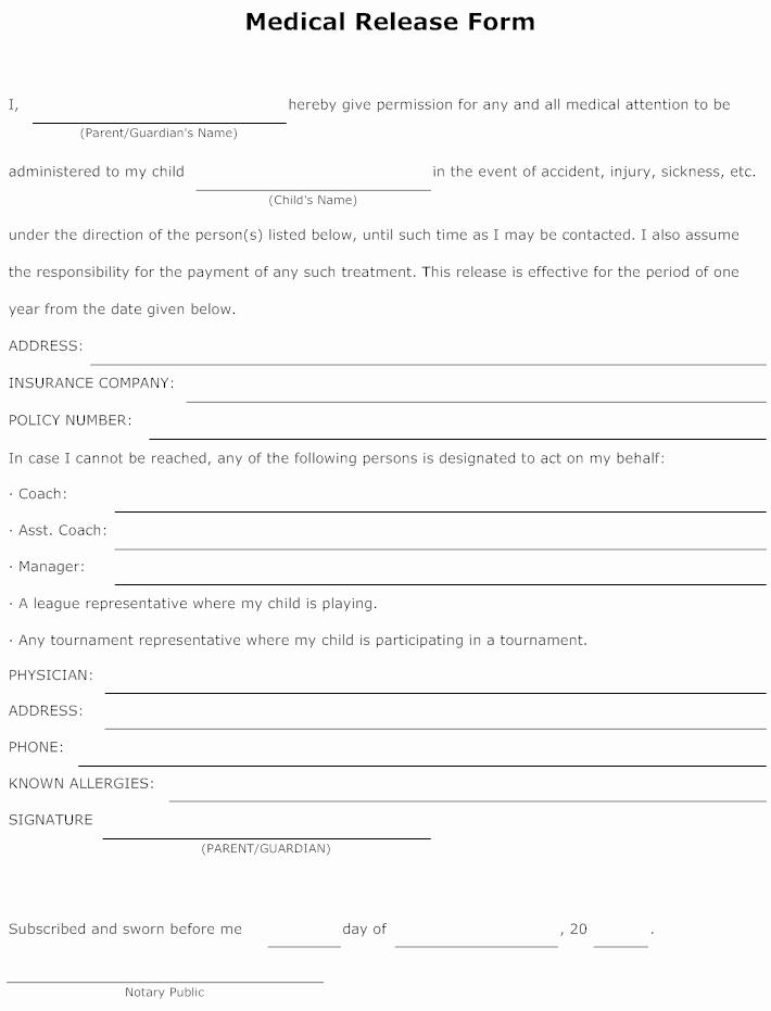 Medical Release form for Babysitter Fresh Example Image Medical Release form Templets