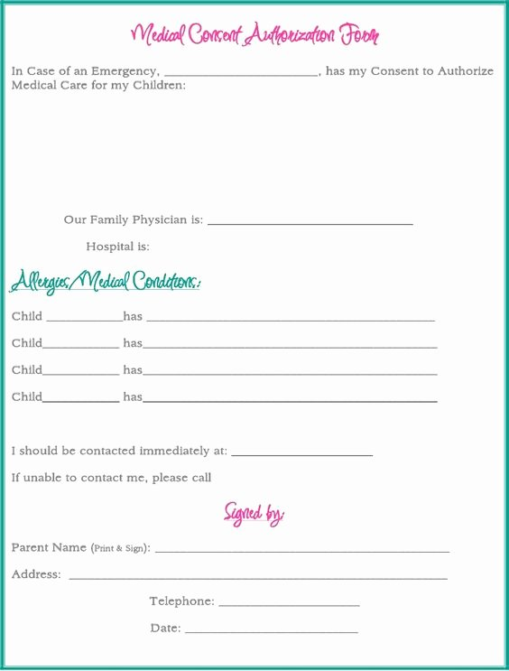 Medical Release form for Babysitter Fresh Medical Consent form while Your Away A
