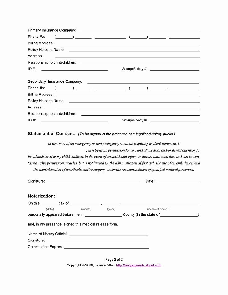 Medical Release form for Babysitter Lovely Use This Medical Release form to Protect Your Kids In An