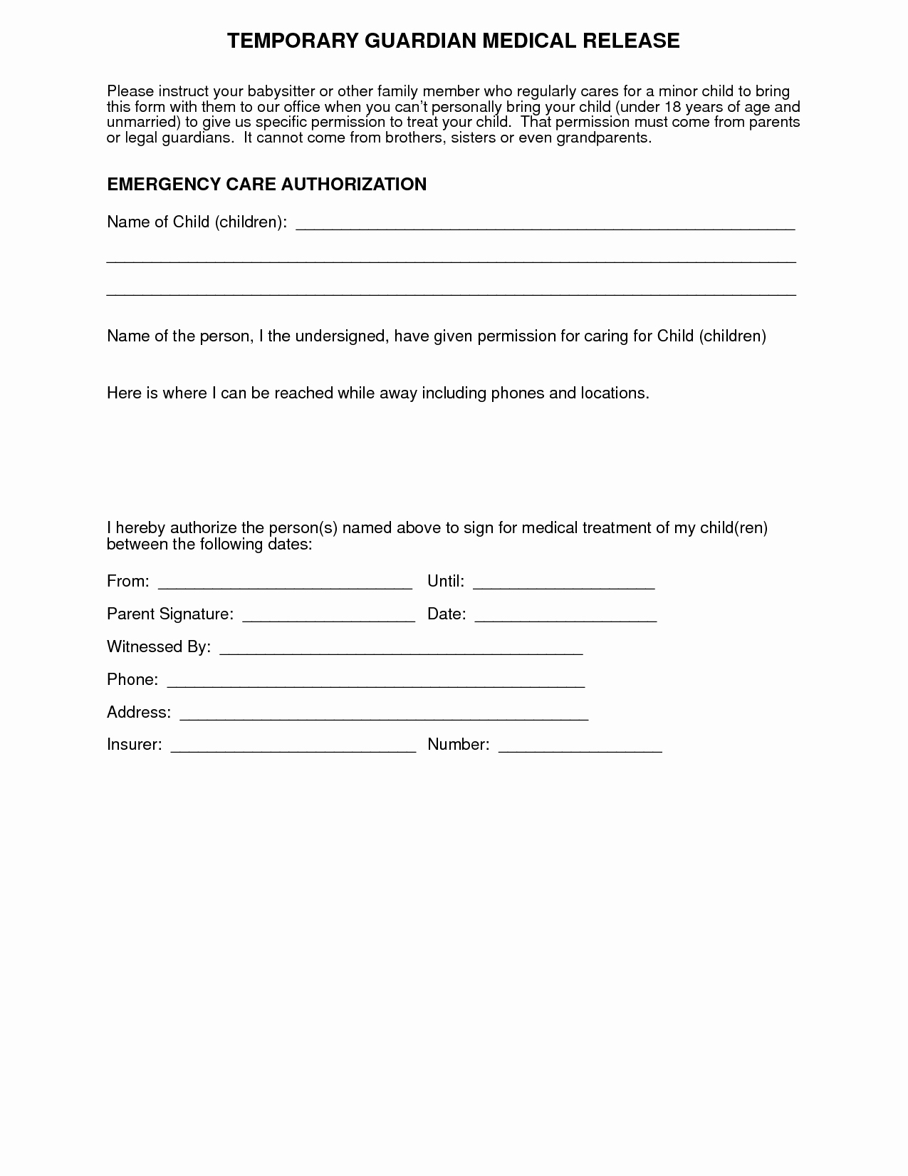 Medical Release form for Babysitter New Medical Authorization form for Grandparents
