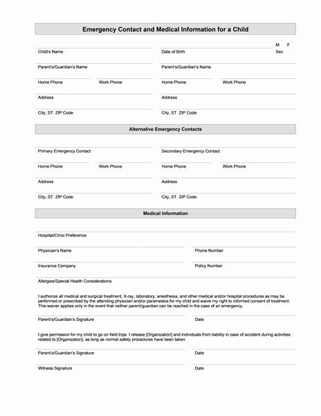 Medical Release form for Babysitter New Medical Information form – Medical form Templates
