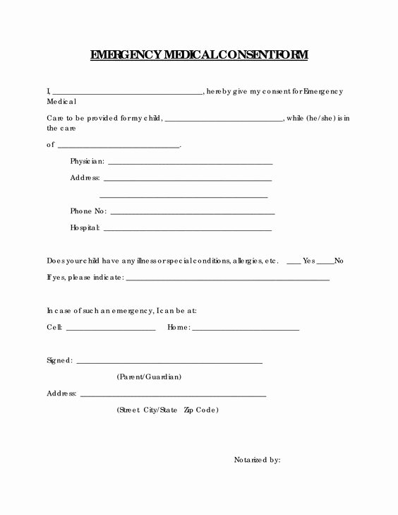 Medical Release form for Babysitter Unique Free Printable Medical Consent form