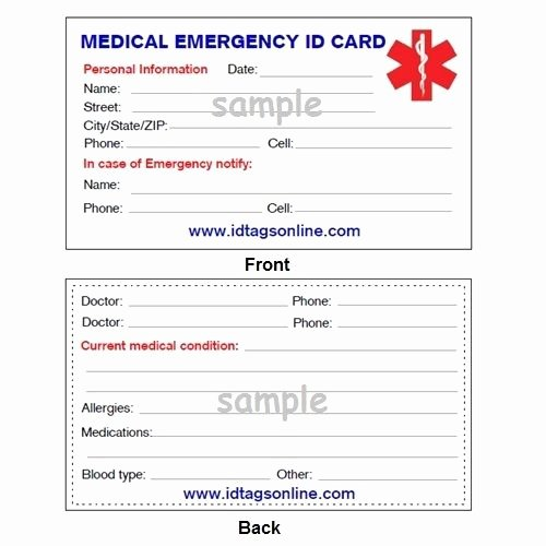 Medication Card Template Beautiful 100 Medical Emergency Wallet Cards for Medical Alert Id