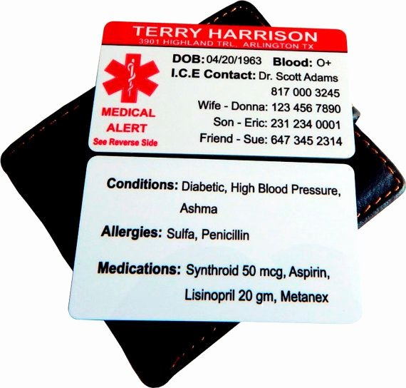 Medication Wallet Card Template Awesome Custom Medical Info Contact Cardemergency by
