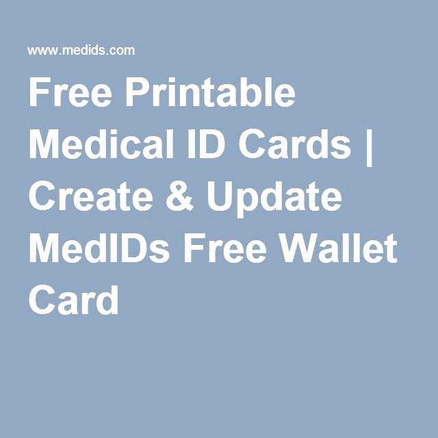 Medication Wallet Card Template Beautiful Free Printable Medical Id Cards