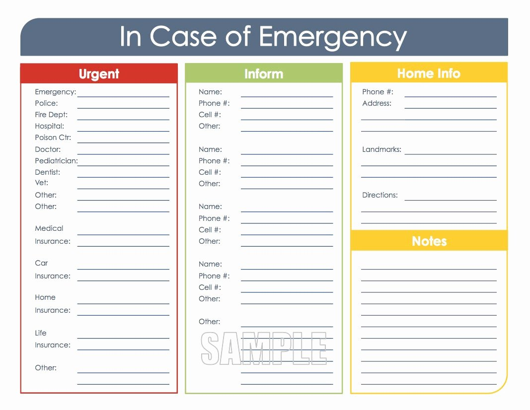 Medication Wallet Card Template Best Of In Case Of Emergency Printable organizing Pdf Instant