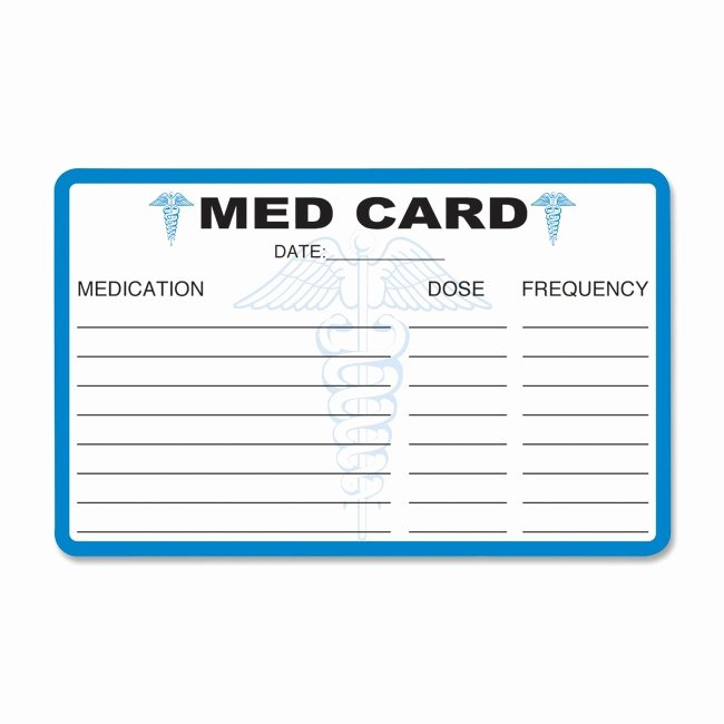 Medication Wallet Card Template Best Of Tabbies Medical Information Card Quickship
