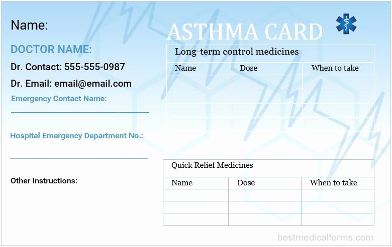Medication Wallet Card Template Elegant asthma Wallet Card Template