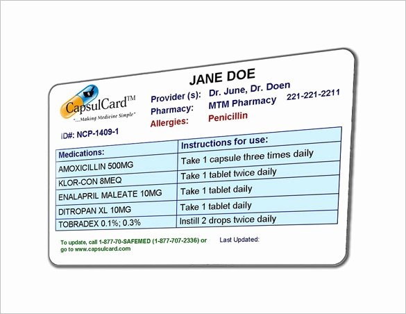 Medication Wallet Card Template Lovely 8 Medication Card Templates Doc Pdf