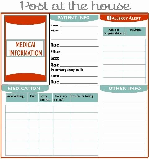 Medication Wallet Card Template Lovely Home Management Binder About Us Family Emergency