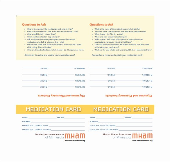 Medication Wallet Card Template New 4 Medication Card Templates Doc Pdf