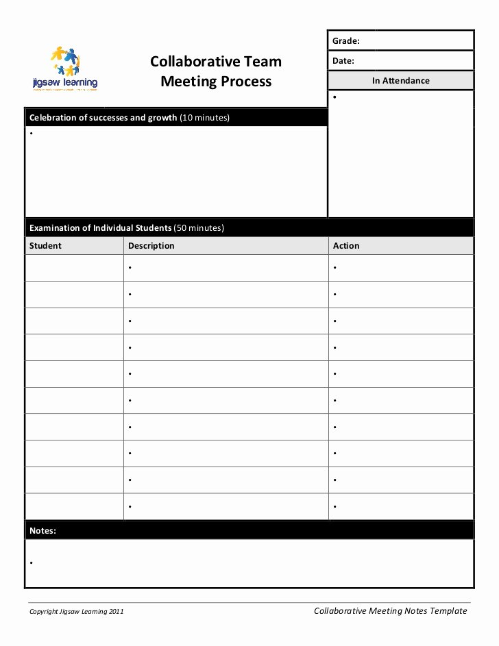 Meeting Brief Template Best Of Collaborative Team Meeting Record Template