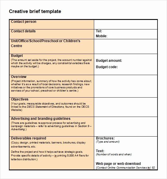 Meeting Brief Template Elegant Sample Creative Brief 9 Free Documents In Pdf Word