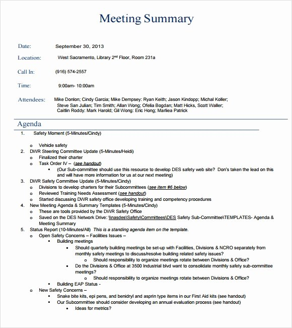 Meeting Brief Template Elegant Sample Meeting Summary Template 7 Documents In Pdf