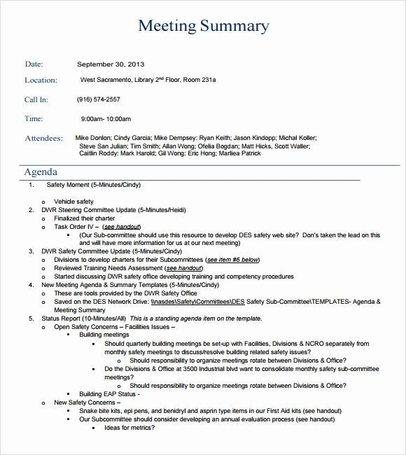 Meeting Brief Template Elegant Sample Meeting Summary Template 7 Documents In Pdf