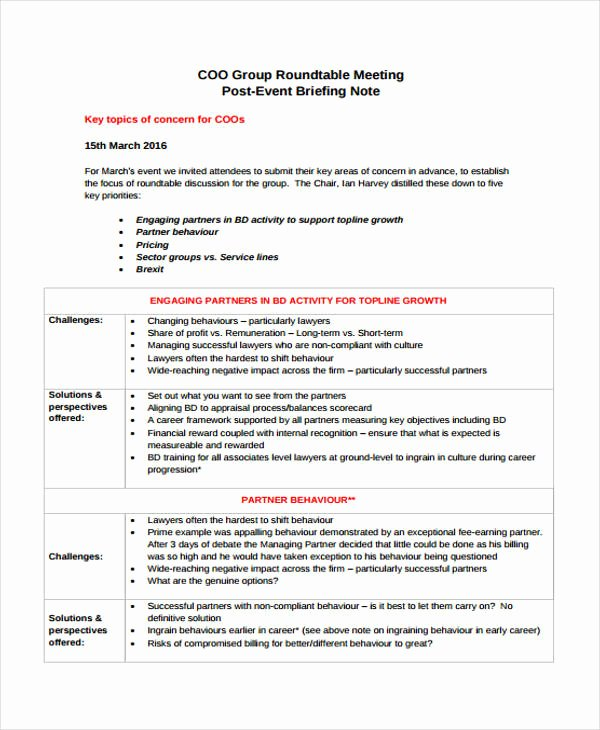 Meeting Brief Template Inspirational 9 Briefing Note Templates Free Sample Example format