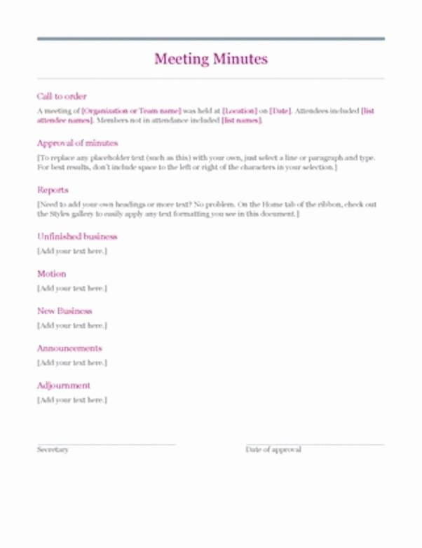 Meeting Brief Template Inspirational What is the Correct format for Recording A Motion In