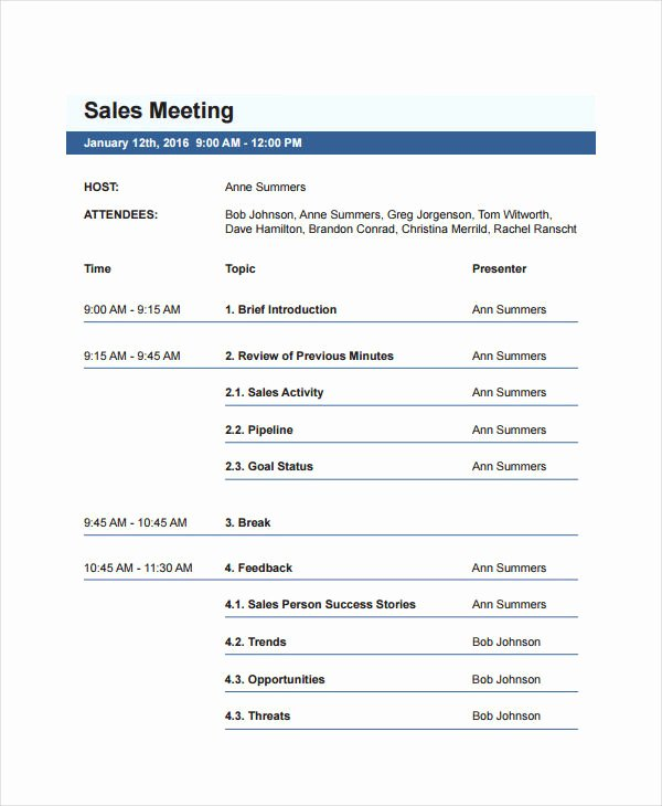 Meeting Brief Template Luxury 31 Agenda Examples and Templates