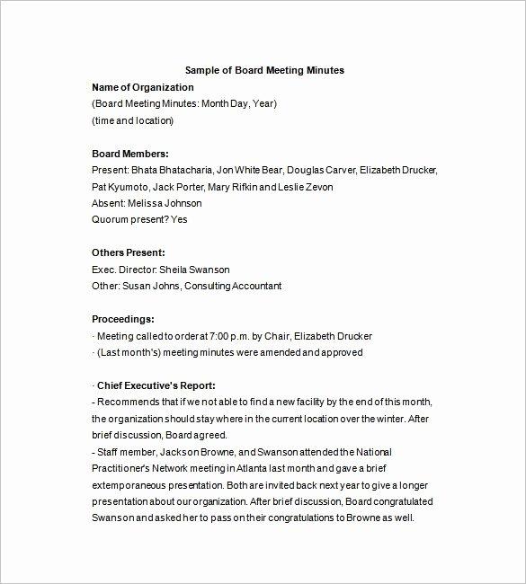 Meeting Brief Template Luxury Board Directors Meeting Minutes Template