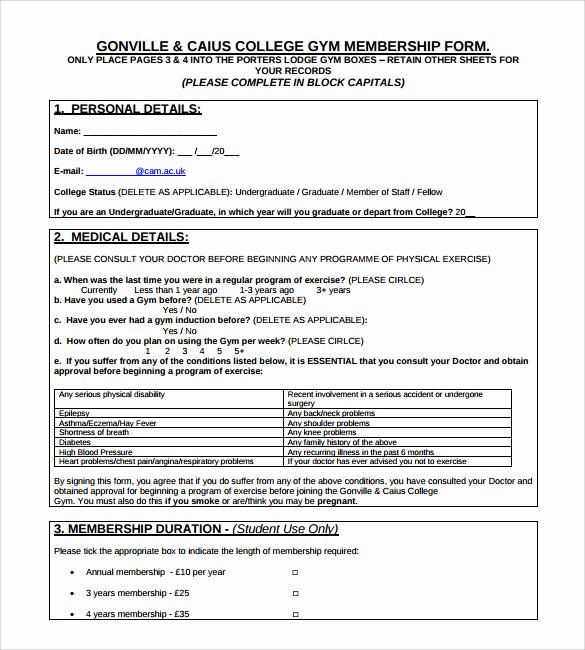 Membership Application Template Free Awesome 11 Gym Contract Templates Pages Word Docs