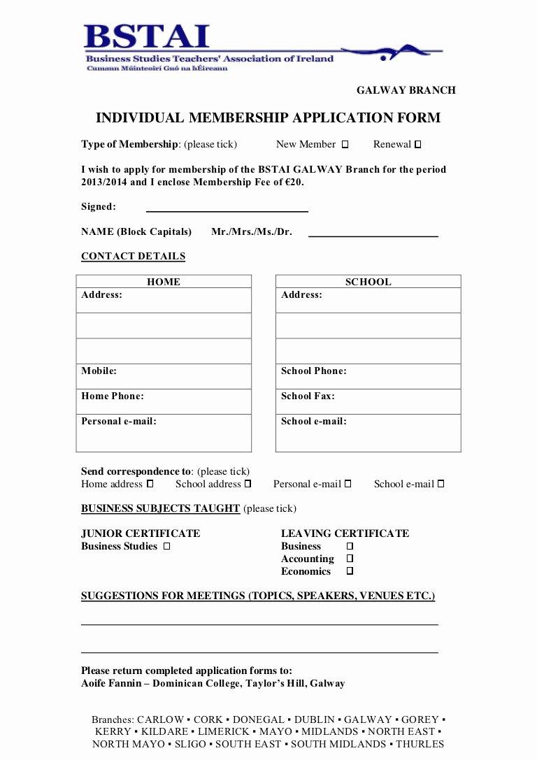 Membership Application Template Free Beautiful Membership Application form 2013 2014 Galway1