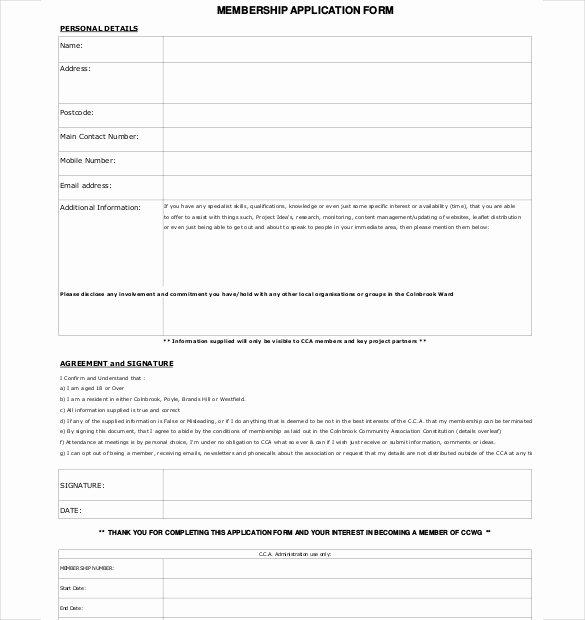 Membership Application Template Free Inspirational 15 Membership Application Templates – Free Sample