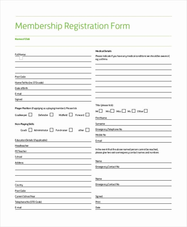 Membership Application Template Free Lovely Sample Membership Registration forms 7 Free Documents