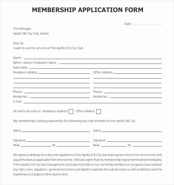 Membership Application Template Free New 15 Sample Club Application Templates Pdf Doc