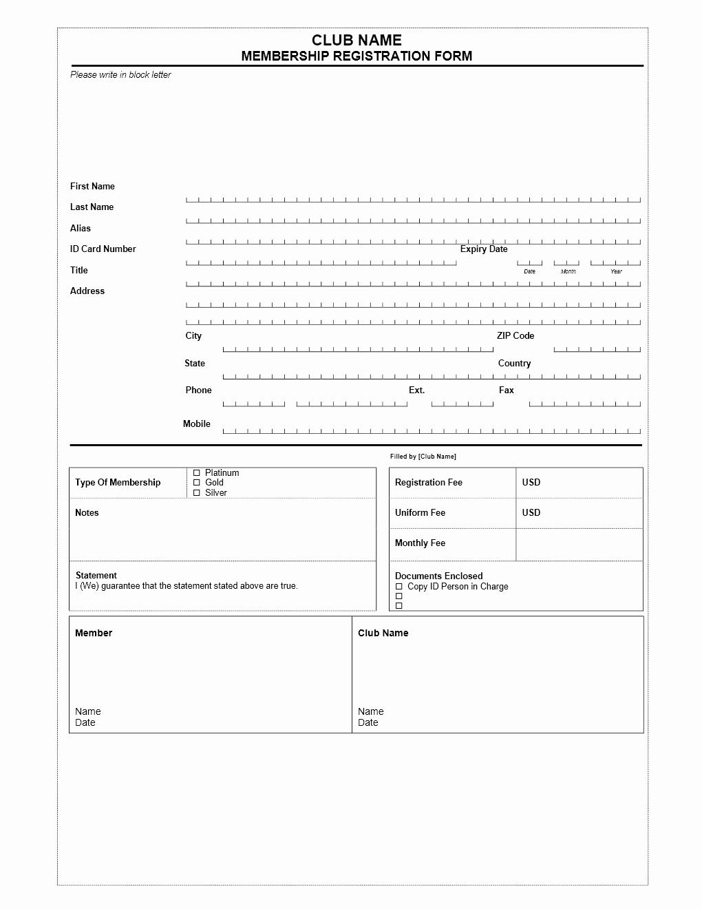 Membership Application Template Free New Club Membership Application form