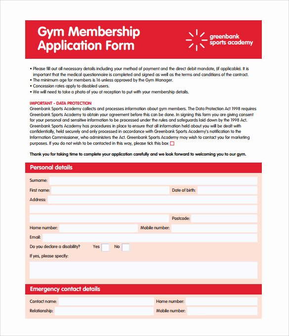 Membership Application Template Free Unique 11 Gym Contract Templates Pages Word Docs