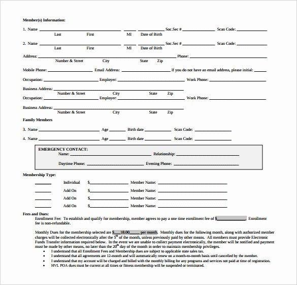 Membership Application Template Free Unique 18 Gym Contract Templates Word Docs Pages