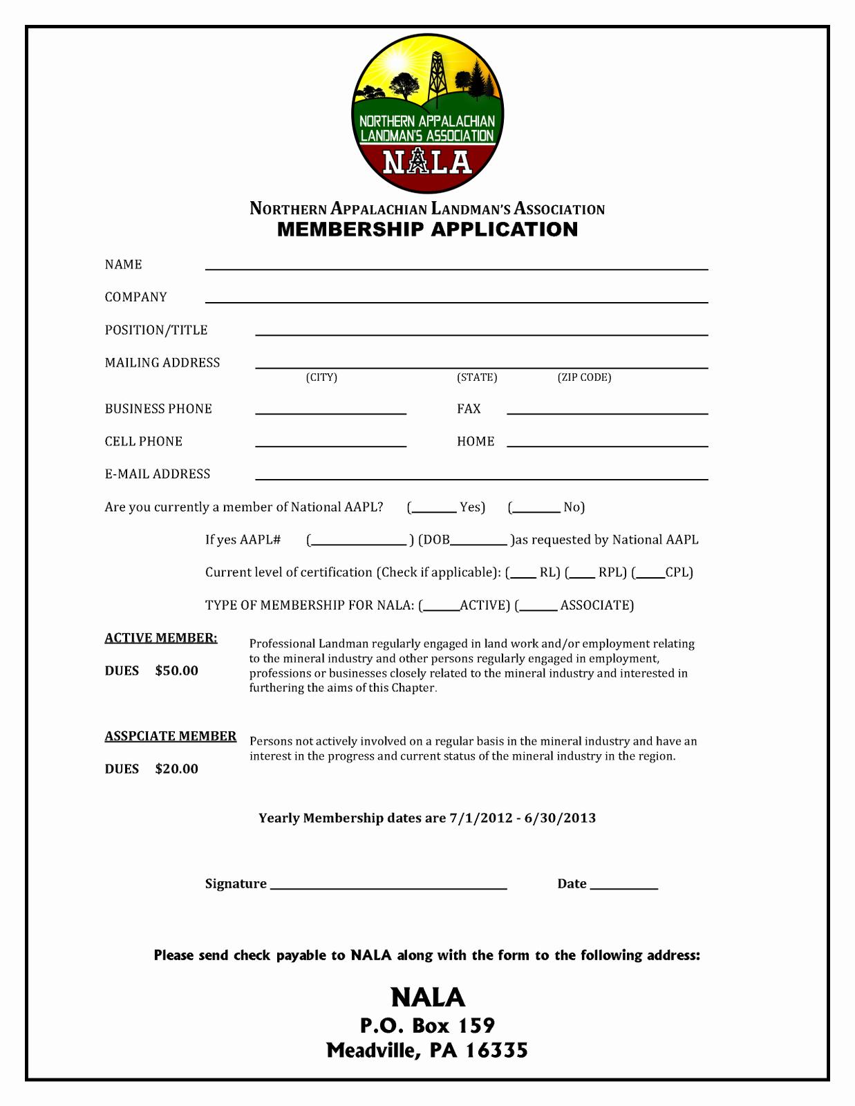 Membership Application Template Free Unique northern Appalachian Landman S association Membership