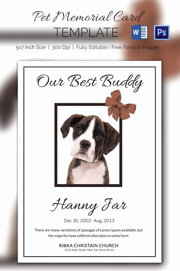 Memorial Card Template Beautiful 15 Pet Memorial Card Designs & Templates Psd Ai