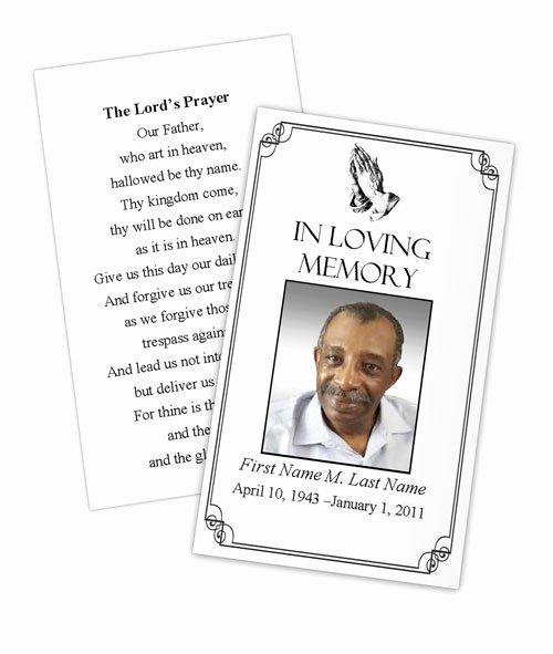 Memorial Card Template Beautiful Praying Hands Memorial Prayer Card Template Elegant