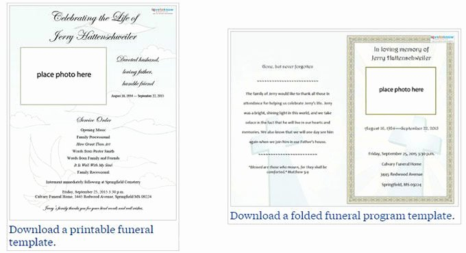 Memorial Card Template Free Download Beautiful Two Free Funeral Service Templates From Love to Know